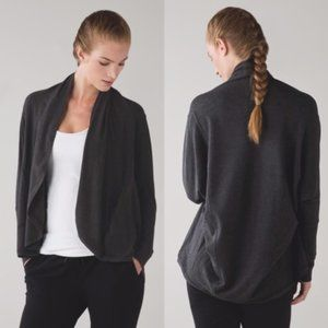 Lululemon To & Flow Wrap Cardigan Gray Pockets
